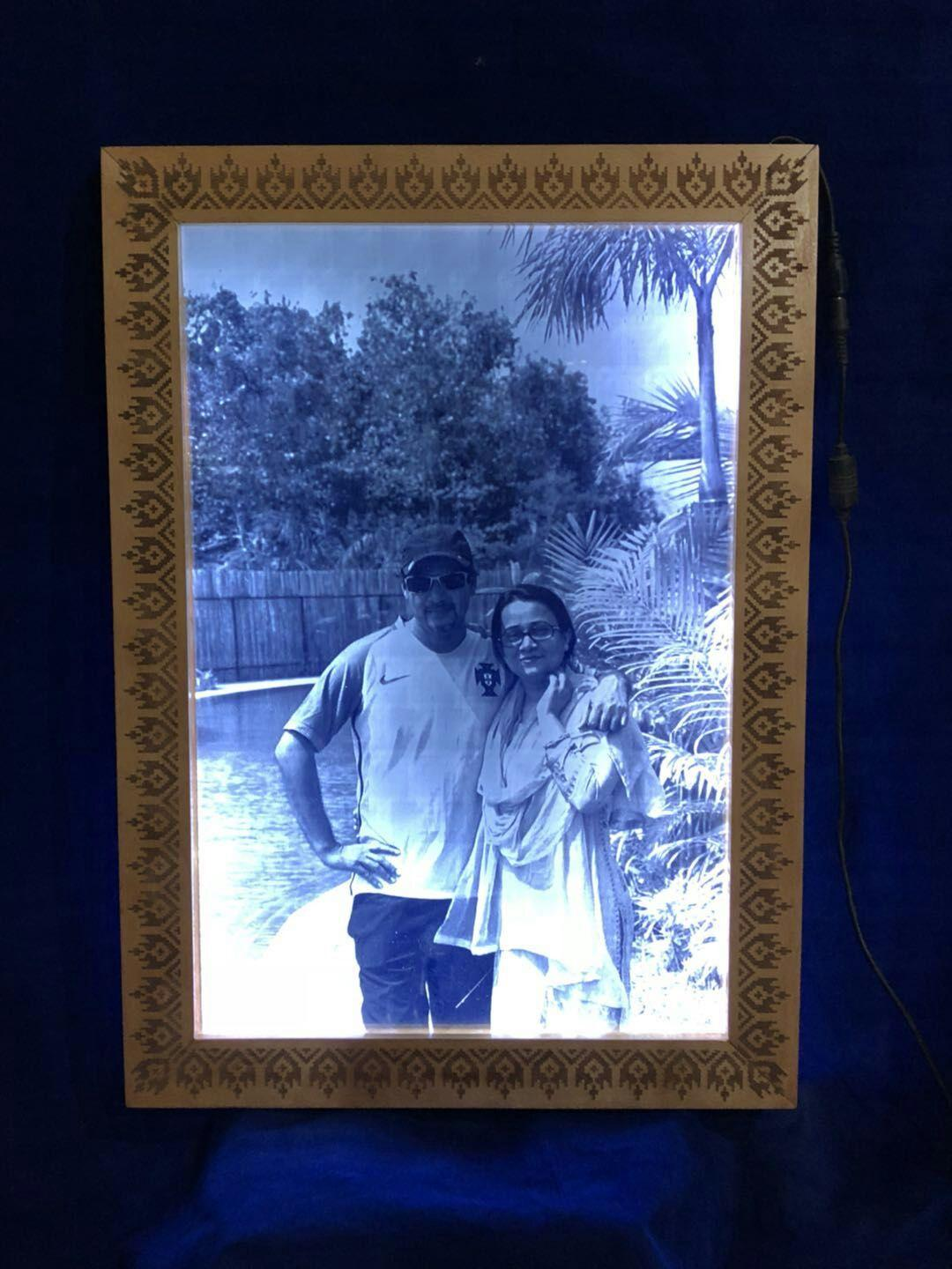 2D Laser Engraved Picture on Glass with wooden framing | Amecon